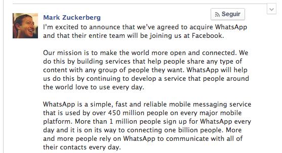 Zuckerberg compra Whatsapp