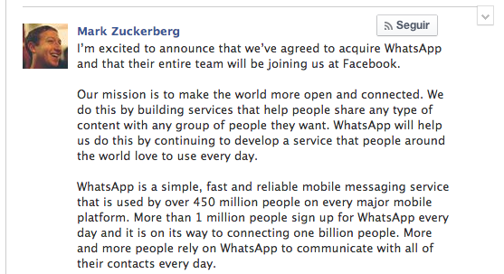 Zuckerberg compra Whatsapp