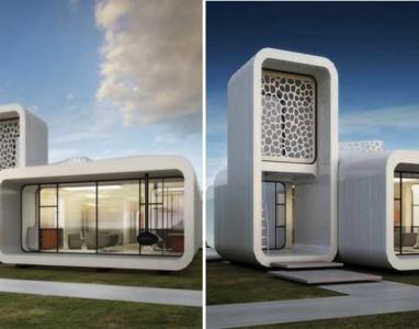 Um edifício completamente construído com uma impressora 3D!?