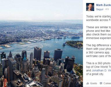 Fotos em 360 graus são agora suportadas pelo Facebook