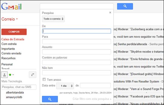 Pesquisa Gmail por data