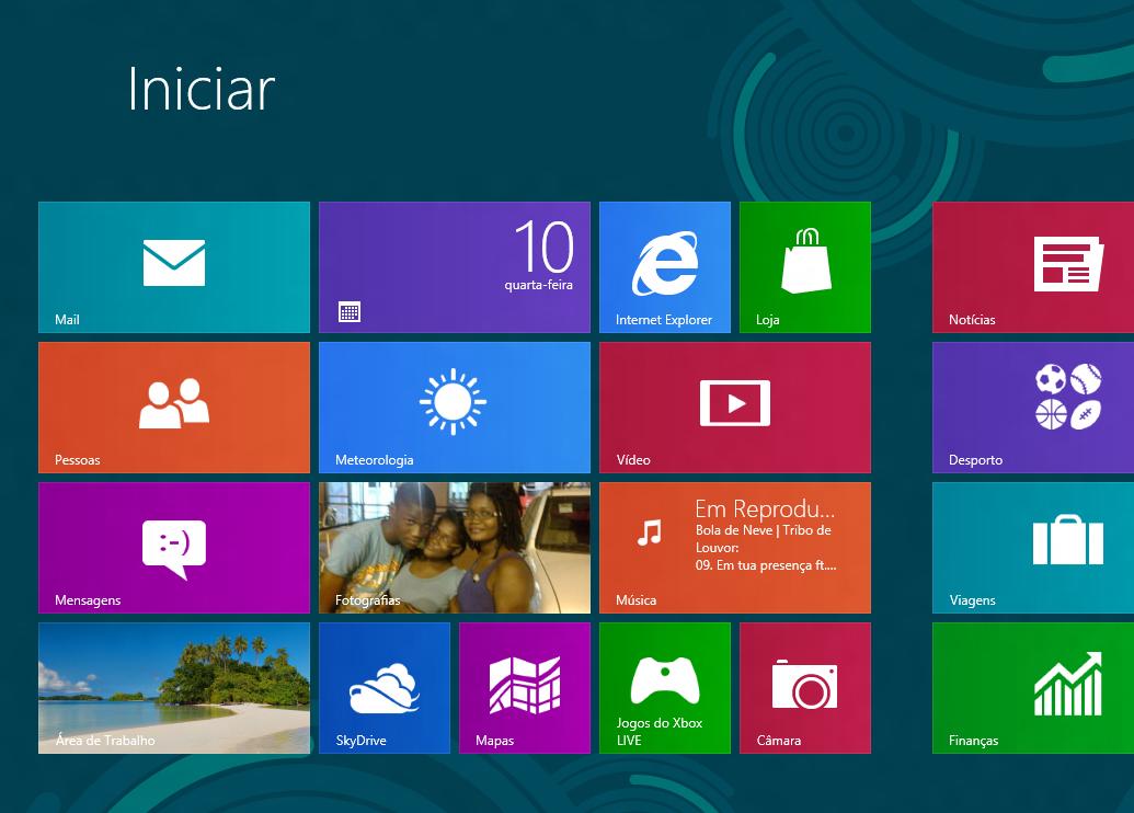 Tela do Menu Start do Windows8