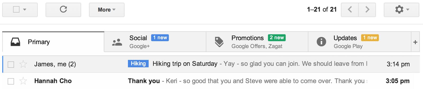 Nova caixa de entrada do Gmail
