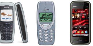 Nokia 2600 (à esquerda),3310 (No centro) e 5230 (à direita)