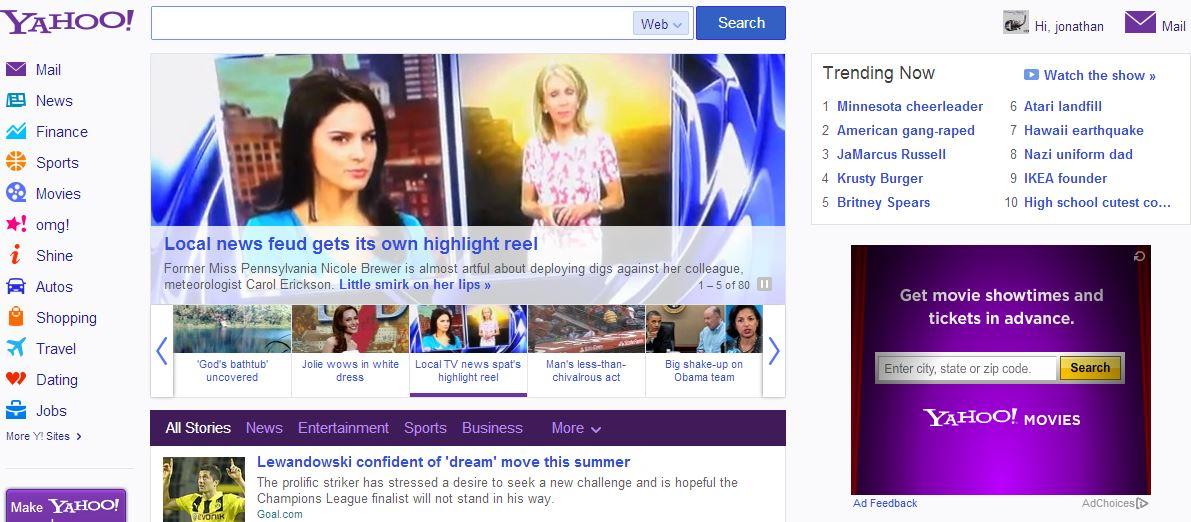 Nova cara da Yahoo!