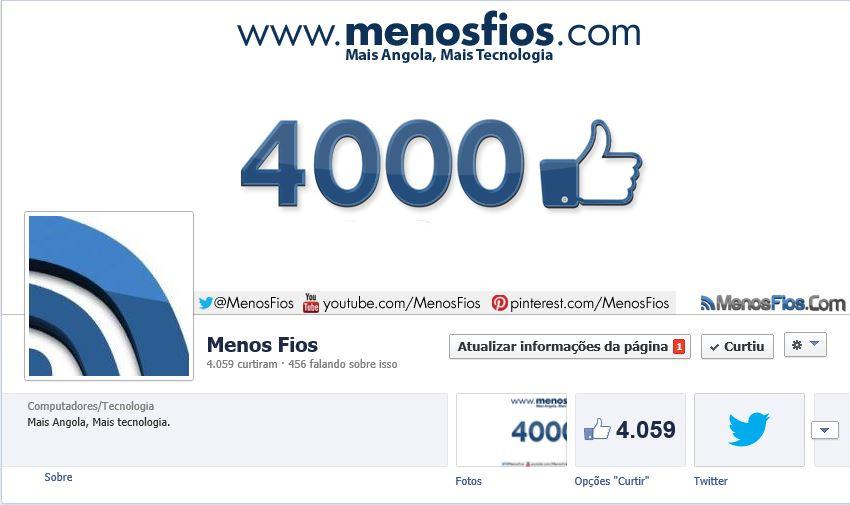 4 mil seguidores no Facebook