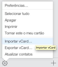iCloud importar vCard