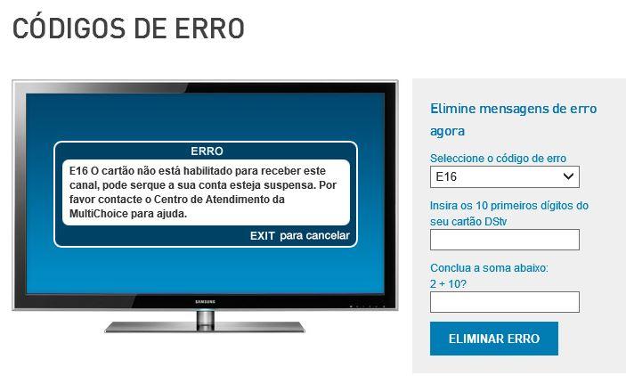 Solução para o Erro E-16 da DSTV