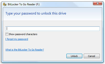 BitLocker To Go pedindo senha