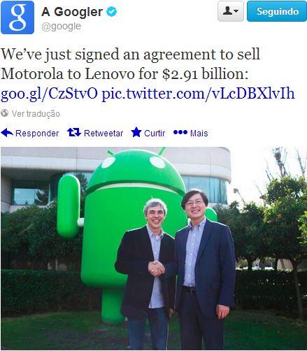 Lenovo compra Motorola Mobility da Google