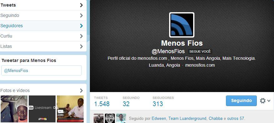 Conta oficial do MenosFios no Twitter