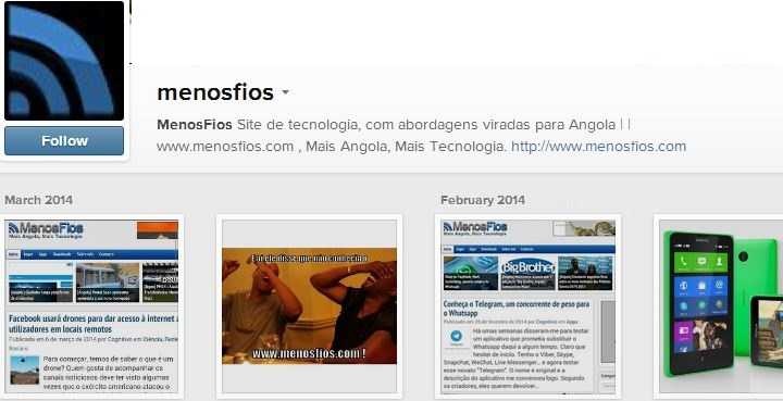 Conta oficial do menosfios no Instagram