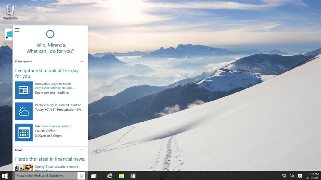 Cortana no Windows 10