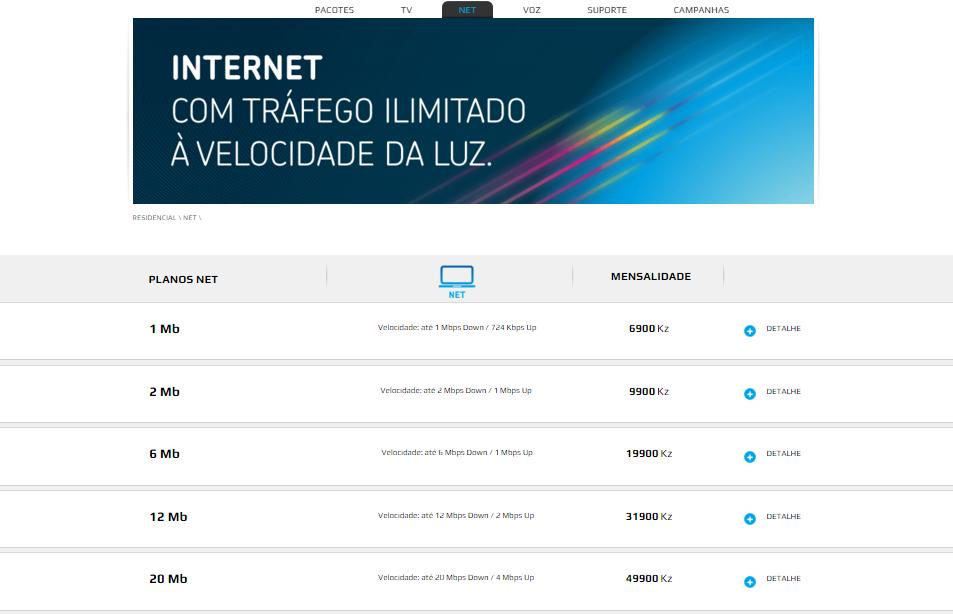 Tabela de preço da Tvcabo