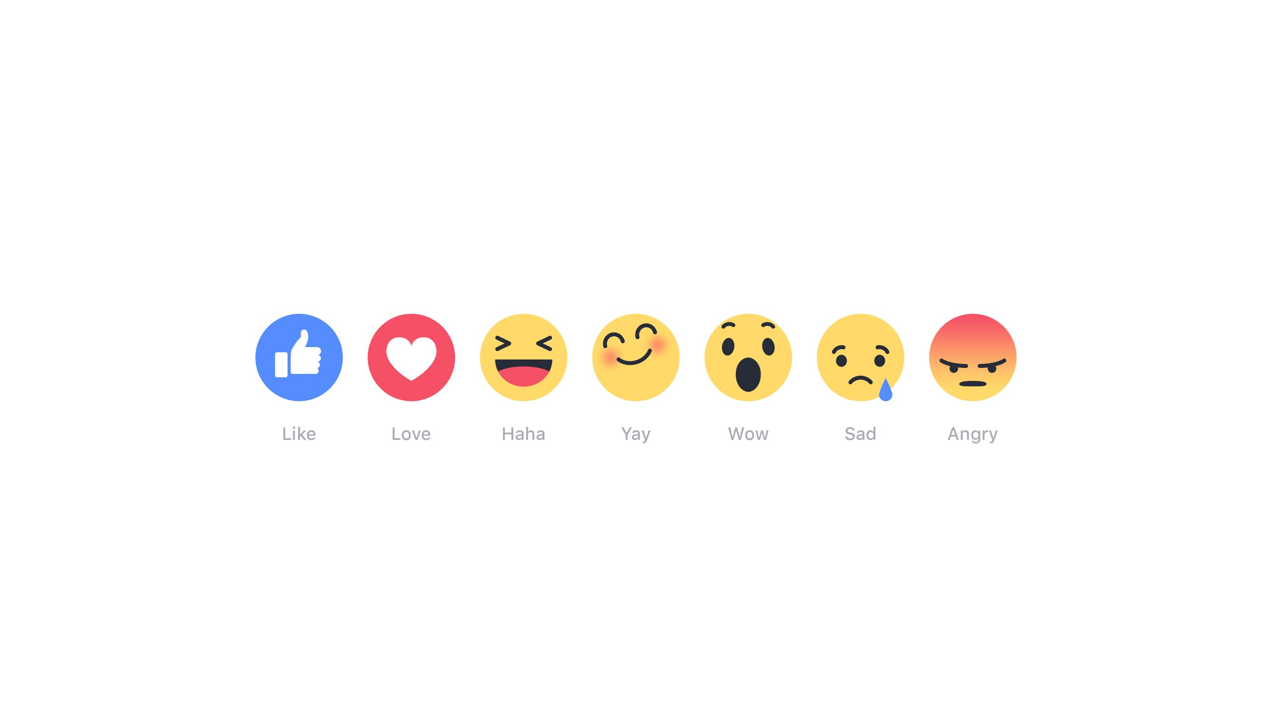 """Facebook users will soon be able to express a fuller range of emotions online with a set of new expressions and animated emojis. There's a throbbing heart for """"Love,"""" a fuming face for """"Angry,"""" a teary-eyed """"Sad,"""" a laughing """"Haha,"""" a surprised """"Wow"""" and an eyes-closed smile for """"Yay."""" Facebook unsurprisingly calls the new feature """"Reactions."""""""