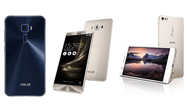 Da esquerda para a direita: Asus Zenfone 3, Asus Zenfone 3 Deluxe, Asus Zenfone 3 Ultra