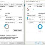 Sistemas de ficheiros das duas unidades: NTFS e FAT 32